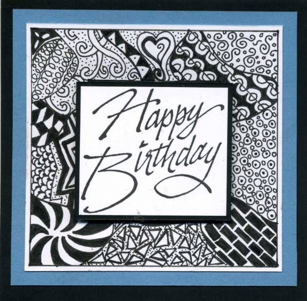 pinalicia merline on zentangle  birthday cards happy