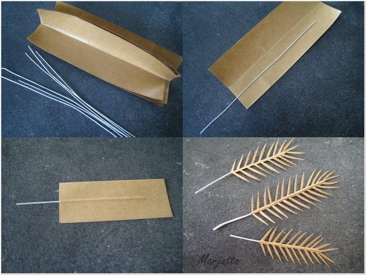 Olen tehnyt palmuja synttärilahjoiksi ja halusin samanlaisen myös Marjatan talon ruokasaliin. Otin muutaman kuvan palmun tekovaiheist...