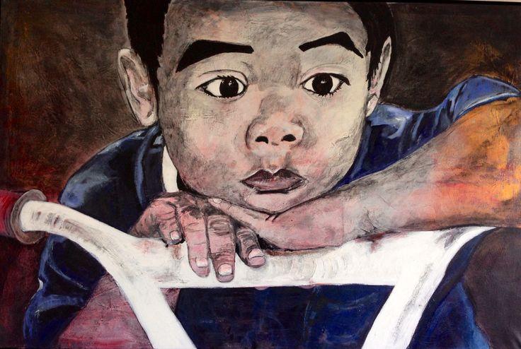 Boy 150 cm x 100 cm / acryl by Marianne Nielsen