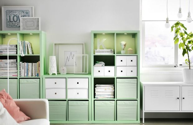 Professional organizers love this bookcase. The cube-style KALLAX shelf from IKEA fits a wide variety of items, and can act as a room divider or wall unit.