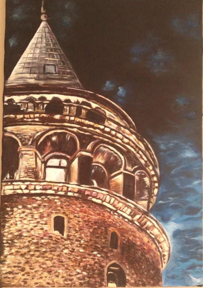 Galata kulesi, yağlı boya, istanbul, kule, gece,