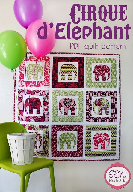 Cirque d'Elephant Quilt Pattern! So pretty.. Can b used for the wall too...
