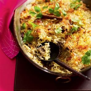 Lamb biryani recipe. The biryani – baked rice, usually layered with meat – first originated in the Moghul cuisine of the 16th-19th centuries.