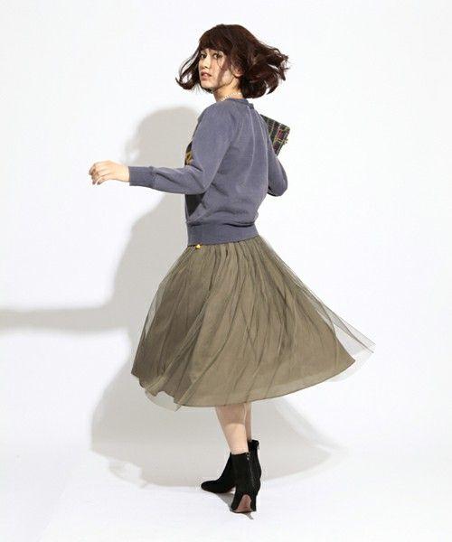 Ray BEAMS(レイビームス)の Ray BEAMS / チュールギャザースカート(スカート)|オリーブ