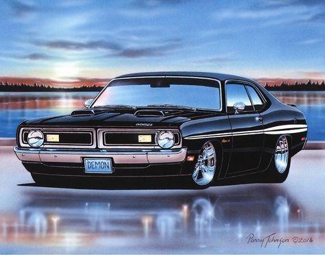 1970 1971 Dodge Demon 340 Muscle Car Art Print Black 11x14 70 71