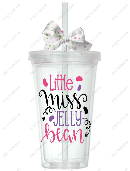 Little Miss Jelly Bean- Customized 16oz Tumbler - Easter Gift for her - Personalized gift for her - Personalized vinyl tumbler by DJsPersonalizedHut on Etsy