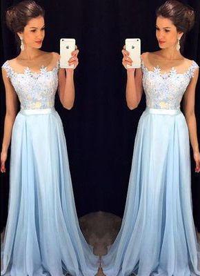 Light Sky Blue Appliques Custom Made Charming Prom Dress,Formal Dresses,Evening Dresses On Sale,a line prom dress