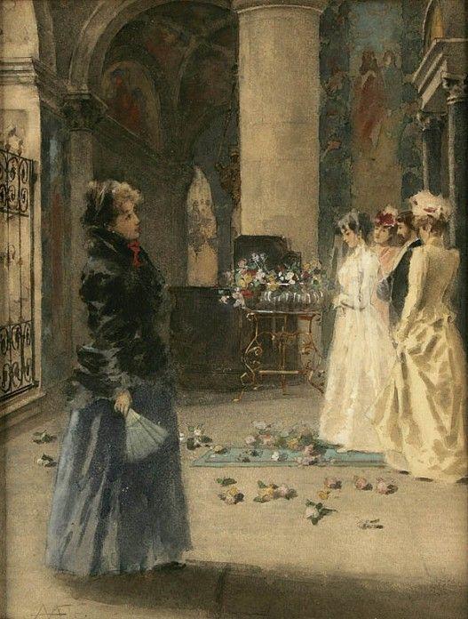 Angelo Achini  (1850-1930)  ––  Wedding Party (527x696)