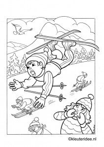Kleurplaat winter, skieën, voor kleuters, kleuteridee, Preschool winter colorpage, free printable