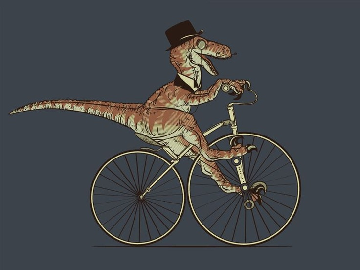 A gentleman raptor riding a bicycle.