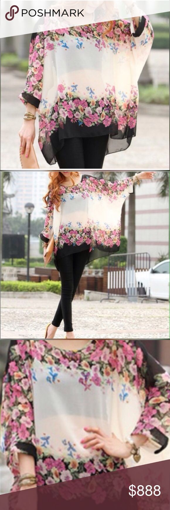 New batwing poncho tunics beautiful boho NWOT New still in manufactures plastic poncho floral very comfortable could easily be worn by a large or extra large new batwing poncho tunics beautiful boho. This is NWOT Retail. S1 Tops