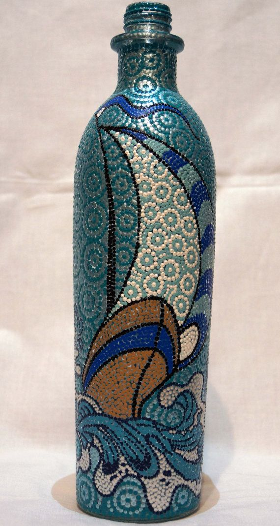 Sailboat Hand Painted Bottle, Dot Art, Dot Painting on Etsy, $55.00