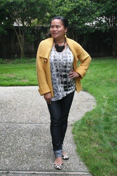 mrslookinggood yellow knit cardigan black skinny jeans leopard flats mrs looking good (3) #treschicstylebits