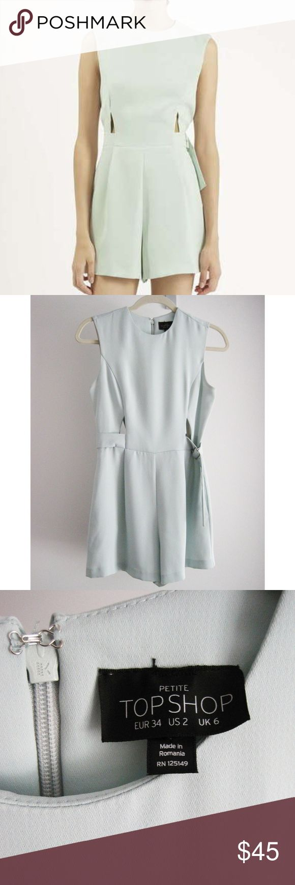 "Topshop Petite Mint Cut-Out Romper Sz 2P A mint colored playsuit featuring front & back waist cutouts, side pockets, a left side belt, and center back zip and hook & eye closure. Pockets are lined. Excellent condition-worn and washed 1x on delicate cycle and hang dried, just like new! Smoke/pet-free home. All images are my own except for the 1st photo. Credited to Topshop online image. Measurements: Bust: 32 1/2""  Waist: 26 ¼"" Outseam: 13 ¼"" Inseam: 2 ¾"" Front Rise: 12 5/8"" Topshop Pants…"