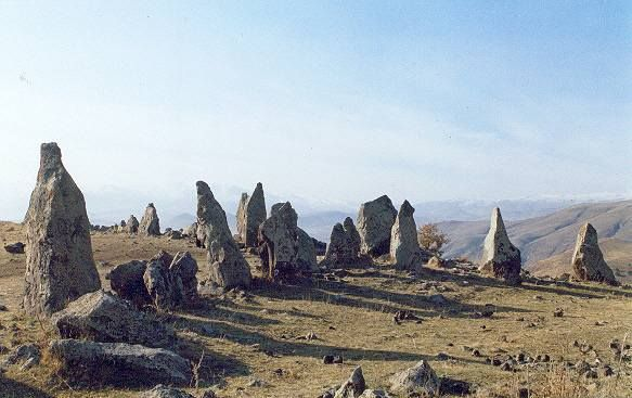 """Carahunge Observatory- """"The Armenian Stonehenge"""" (7,500 years old) *140 miles southeast of the capital of Armenia, Yerevan, sits a high plateau with over 200 ancient stones. Some of the stones weigh over 50 tons and they stretch for 1/3 of a mile. """"The Armenian Stonehenge"""" is also known as Zorats Karer. It is estimated to be 7,500 years old and predates the British Stonehenge by more than 4,500 years. This astronomical site is made of 203 slabs of basalt."""