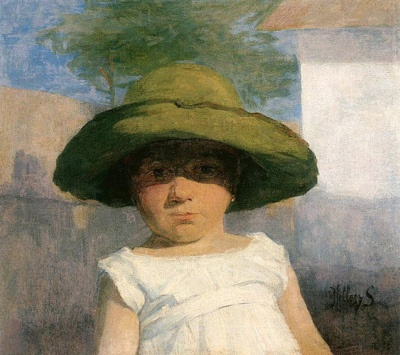 alongtimealone:  Hollosy, Simon (1857-1918) - 1900c. Girl with a Large Green Hat (Hungarian National Gallery, Budapest) (by RasMarley)