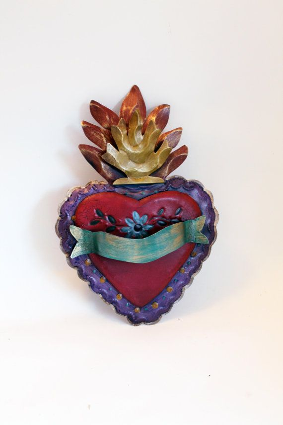 Vintage Tin sacred heart Mexican wall art by TheVirginRose on Etsy