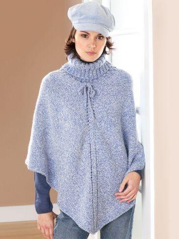 Turtleneck Poncho | Yarn | Free Knitting Patterns | Crochet Patterns | Yarnspirations