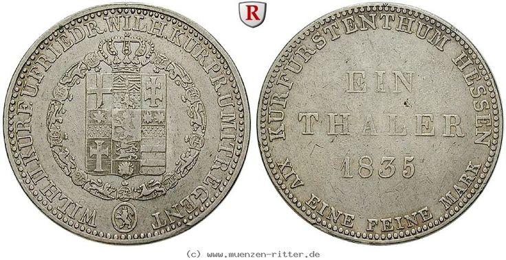 RITTER Hessen-Kassel, Wilhelm II. und Friedrich Wilhelm, Taler 1835 #coins