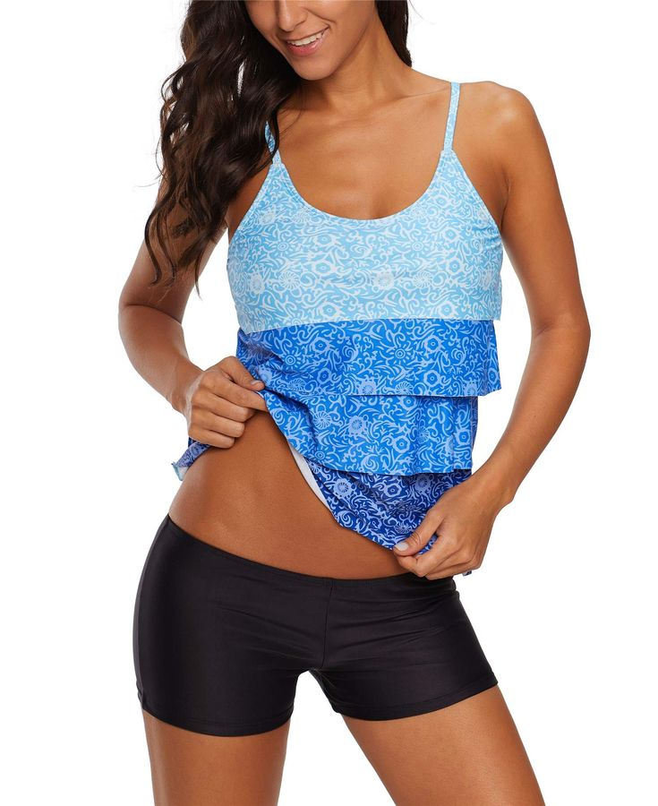 WoWPlus Swimsuits Two Pieces Bathing Suits Swimwear Tankini Tops Set Swimsuit for Women Blue_81d1H5c 3