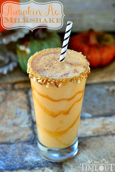 Pumpkin Pie Milkshakes that taste like pumpkin pie in a glass - only better! | MomOnTimeout.com