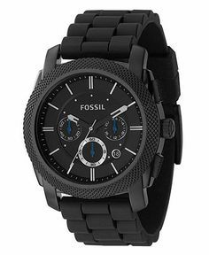 Fossil Watch, Men's Chronograph Machine Black Silicone Strap 45mm FS4487 - Men's Watches - Jewelry & Watches - Macy's