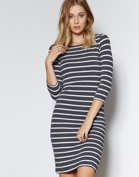 Shop and buy the latest in women's fashion and clothing online at Glassons.com. Check out this Stripe 3/4 Sleeve Dress - A stripe 3/4 sleeve dress, in a soft cotton blend.