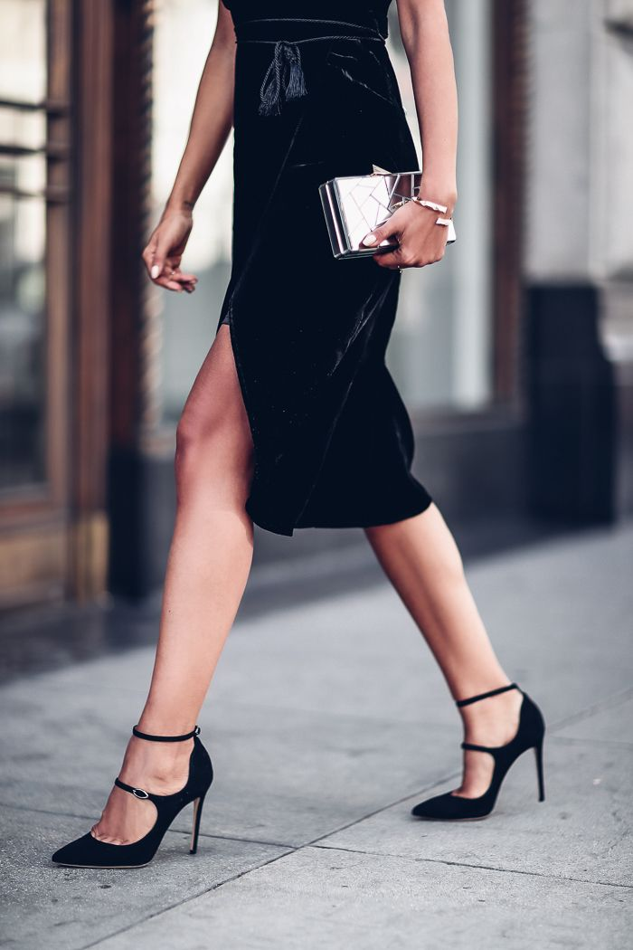 Holiday dressing idea - wrap velvet dress, strappy black pumps + mirrored clutch