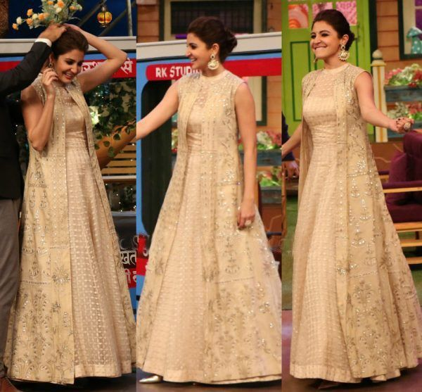 Anushka Sharma In Cream Gown Shrug For Dresses Indian Gowns Dresses Long Jacket Dresses