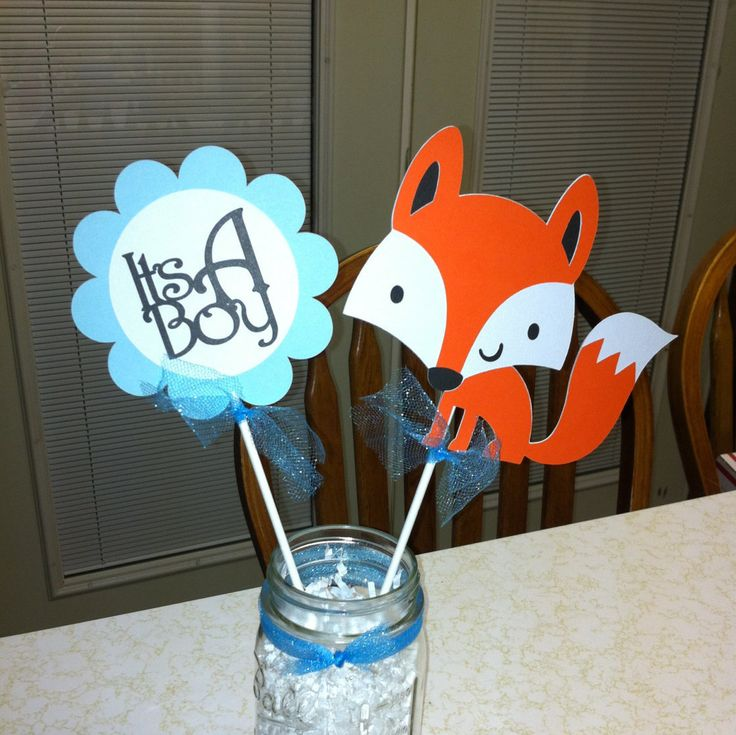 Fox Its a boy centerpiece, fox baby shower, fox centerpiece, It's a boy centerpiece, its a boy decoration, woodland baby shower by MindysPaperPiecing on Etsy