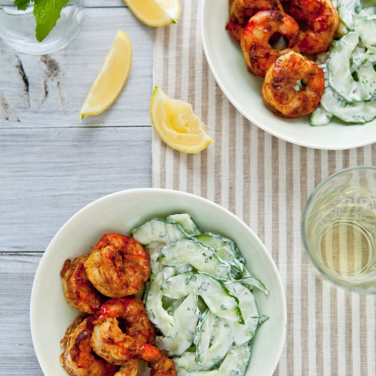 Spicy Curry Grilled Shrimp with Cucumber Salad   Food & Wine