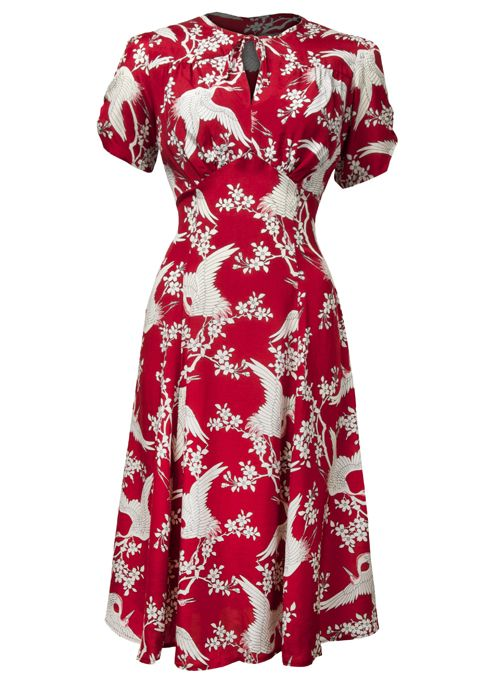 40s Tea Dress - Bird of Paradise - Fashion 1930s, 1940s & 1950s style - vintage reproduction