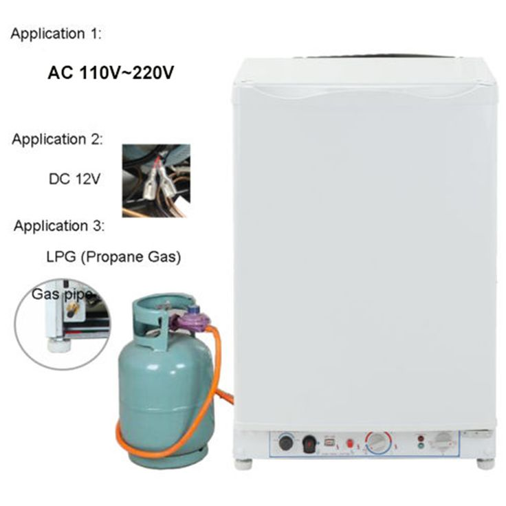 Smad DC 12V AC 110V-220V LP Gas Mini Portable Refrigerator Dorm Low Noise 95L Propane Absorption Fridge Freezer for Hotel Home