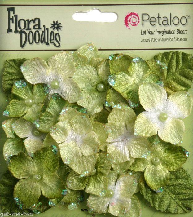 22 x Green Velvet Hydrangea Fabric Flowers Leaves mixed pack Petaloo NEW