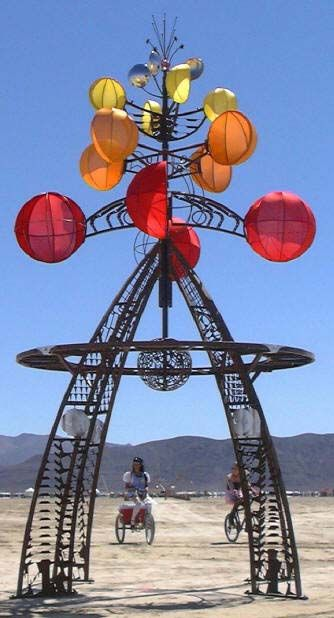 """Royce Carlson worked in many media for years but after moving to Prescott he began creating welded steel sculptures. He works with found objects and """"skeleton"""" plates which are the pieces remaining after industrial parts are cut out of steel sheets. He produces large durable outdoor art and enjoys creating kinetic sculptures, particulary ones that move in the wind."""