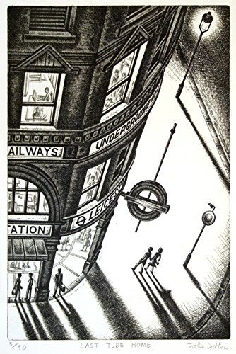 Last Tube Home   Last Tube Home Last Tube Home is an etching by collectable artist, John Duffin. The long shadows of the figures are characteristic of Duffin's work as is the steep perspective looking down on the scene at Leicester Square tube station. Duffin's work is in the tradition of LS Lowry in Britain and Edward Hopper in America and like these artists he creates unique views of contemporary urban life, a combination of his ability as a draughtsman, his imagination and his per..