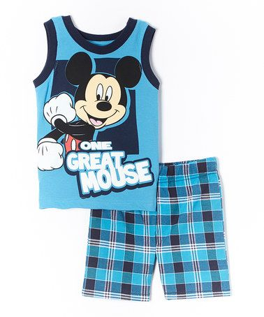 Loving this Blue Mickey Mouse 'Great' Tank & Shorts - Toddler on #zulily! #zulilyfinds