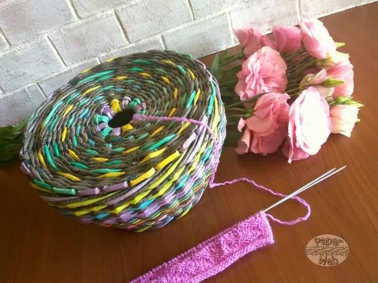 Плетеная клубочница, для пряжи.