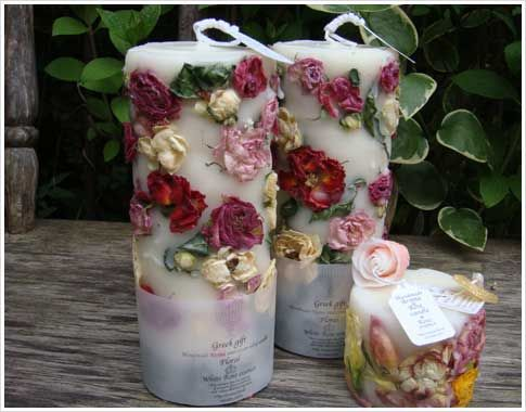 Pressed candle... could you use flowers from that special occasions?