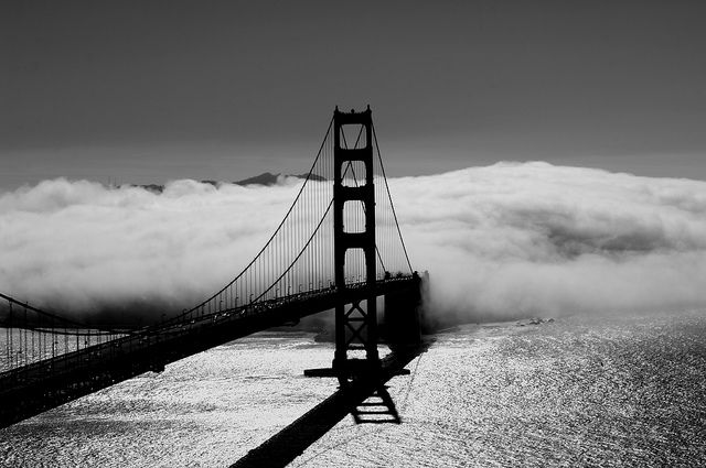 Golden Gate in fog, driven over it when it looked like this!