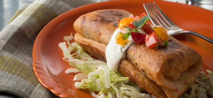 Easy Shredded Chicken Chimichangas made with Mi Rancho Organic Flour Tortillas