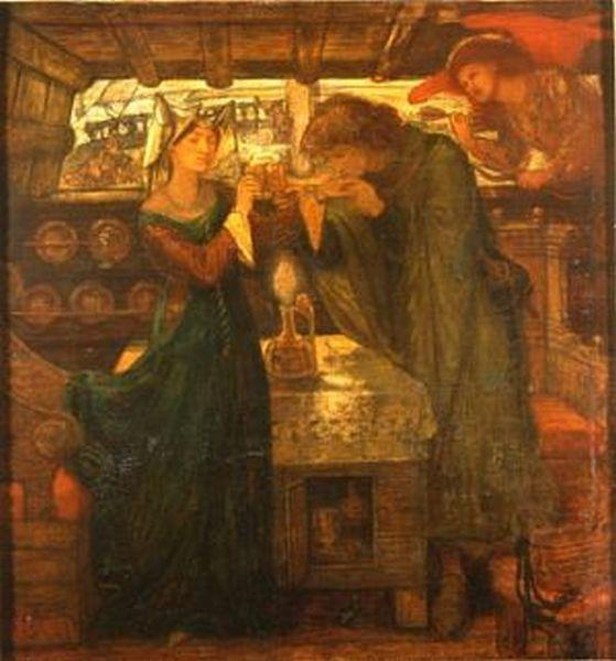 Sir Tristram and La Belle Yseult Drinking the Love Potion Д. Г. Россетти. Сэр Тристан и Прекрасная Изольда, пьющие любовный напиток