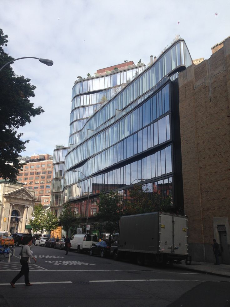A building in Greenwich Village NYC that softens the edges of a usually linear skyline.
