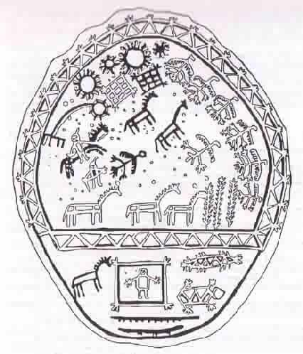Altai Turk drum shows very complex Tengrism symbolism.