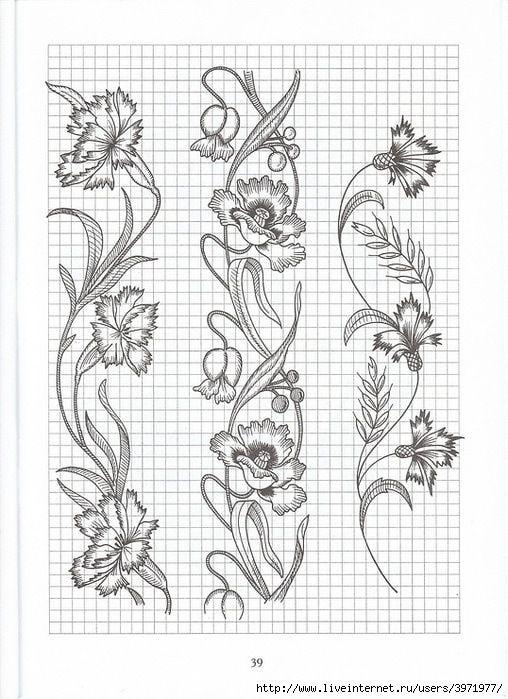 Gallery.ru / Фото #126 - Рисунки для вышивки гладью, лентами и ришелье-3 - Vladikana