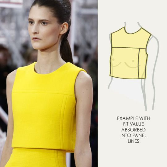 Bust Shaping with Panel Lines at Dior | The Cutting Class. Christian Dior, SS15, Haute Couture, Paris, Image 7. Example with fit value absorbed into panel lines.
