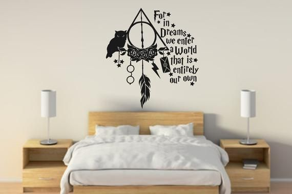Harry Potter Dream Catcher Wall Decal Home Decor Wall Sticker Etsy Harry Potter Wall Decor Harry Potter Wall Painting Harry Potter Wall Stickers