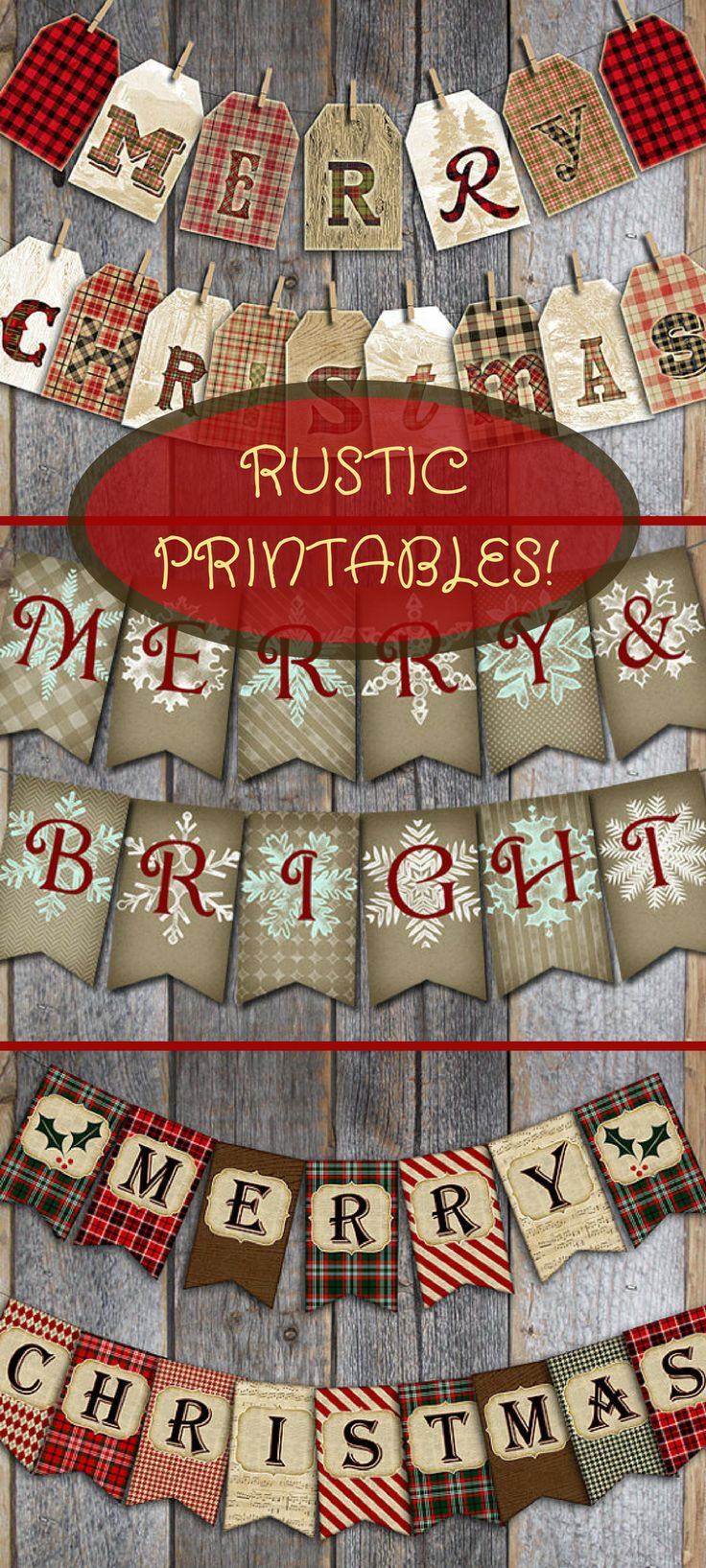 I'm in love with these rustic printable banners! Would go great with a farmhouse Christmas decor theme. Now to which one to choose? Maybe I'll get all three! Christmas Banner | Christmas Bunting | Merry
