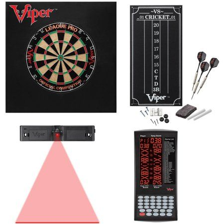 League Pro Sisal Fiber Dartboard, ProScore Digital Scorer, Defender II Dartboard Surround and Laser Dart Throw Line Bundle by Viper