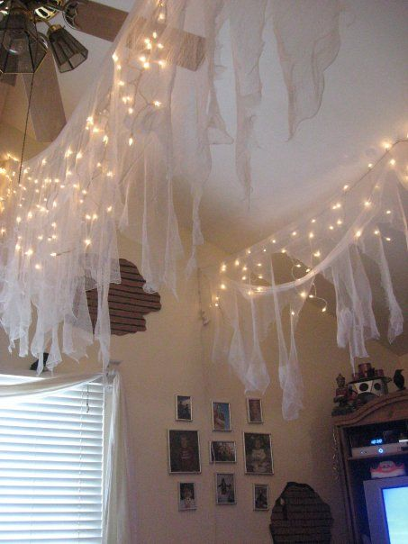 Halloween ceiling decoration/ lighting, I'm thinking black with the purple…